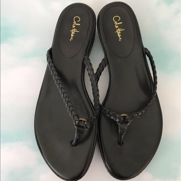 bba7a0104571d8 Cole Haan Shoes - Cole Haan Black Woven Leather Thong Sandals